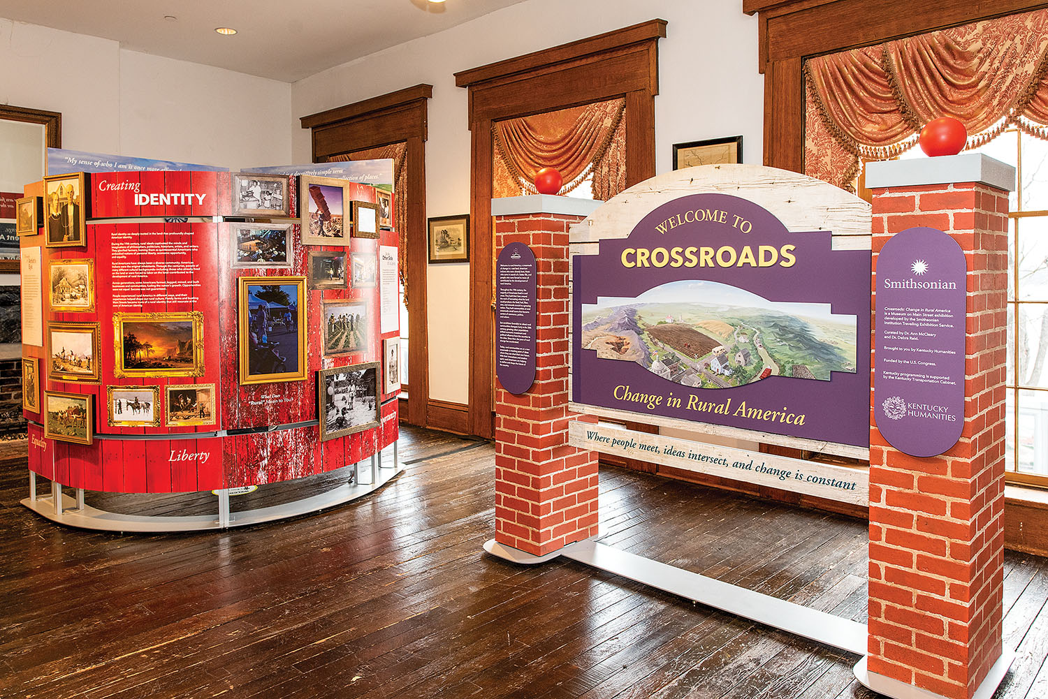 """""""Crossroads: Change in Rural America"""" chronicles the evolving rural landscape of the country. The exhibit is a traveling exhibit curated by the Smithsonian Institution and is currently visiting the River Discovery Center in Paducah, Ky. (Photo courtesy of River Discovery Center)"""