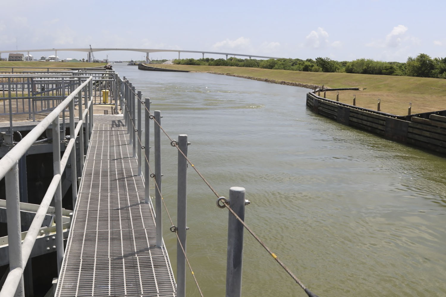 Summertime photo of Colorado River Locks (Photo courtesy of Galveston Engineer District)