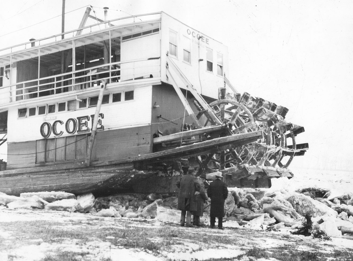 The Ocoee after being pushed ashore by the 1936 ice gorge. (Keith Norrington collection)