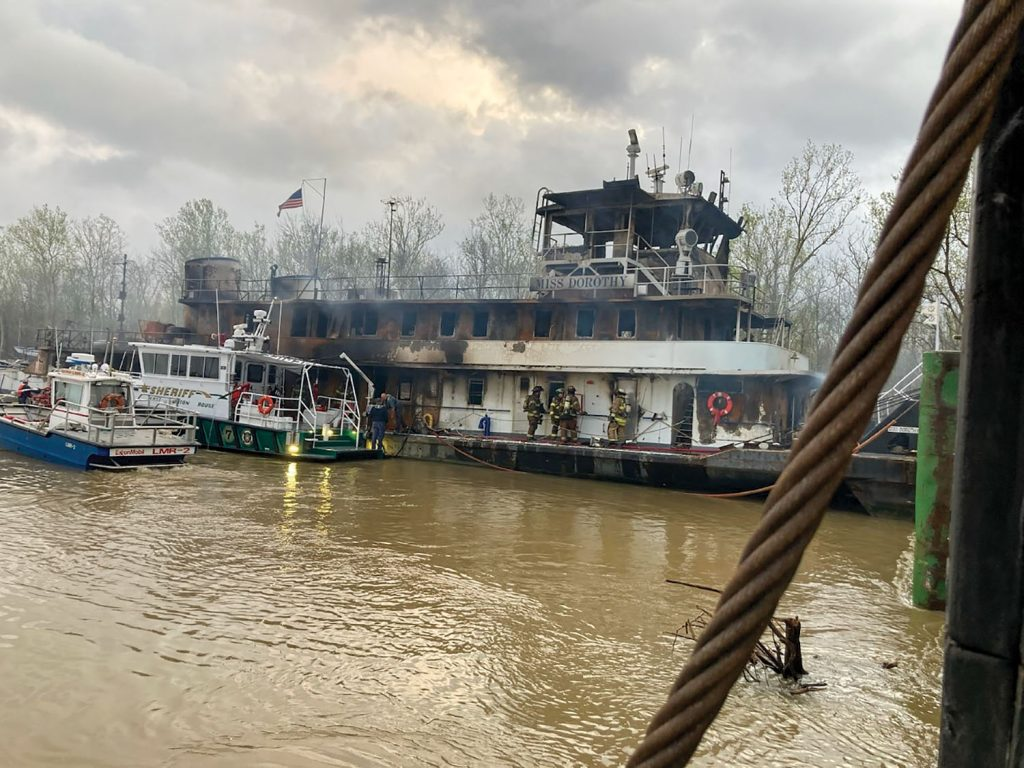 The Miss Dorothy on the day after the fire. (Photo courtesy of Baton Rouge Fire Department)