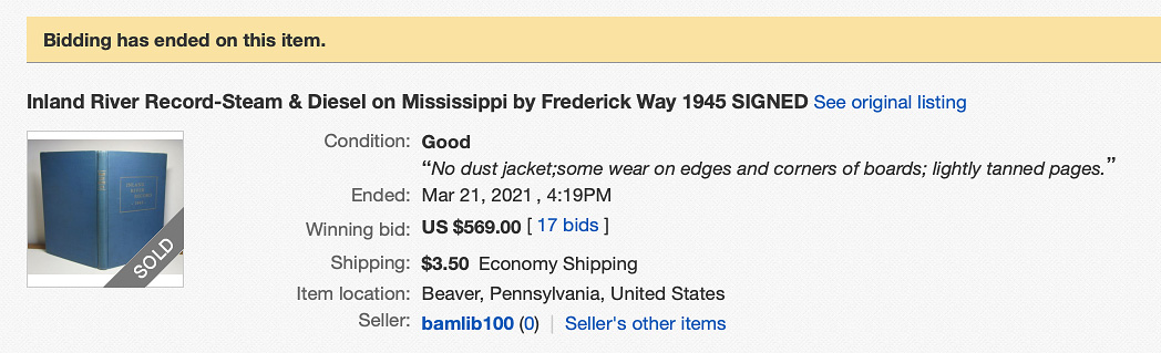 Screenshot of eBay sale page for signed 1945 Inland River Record.