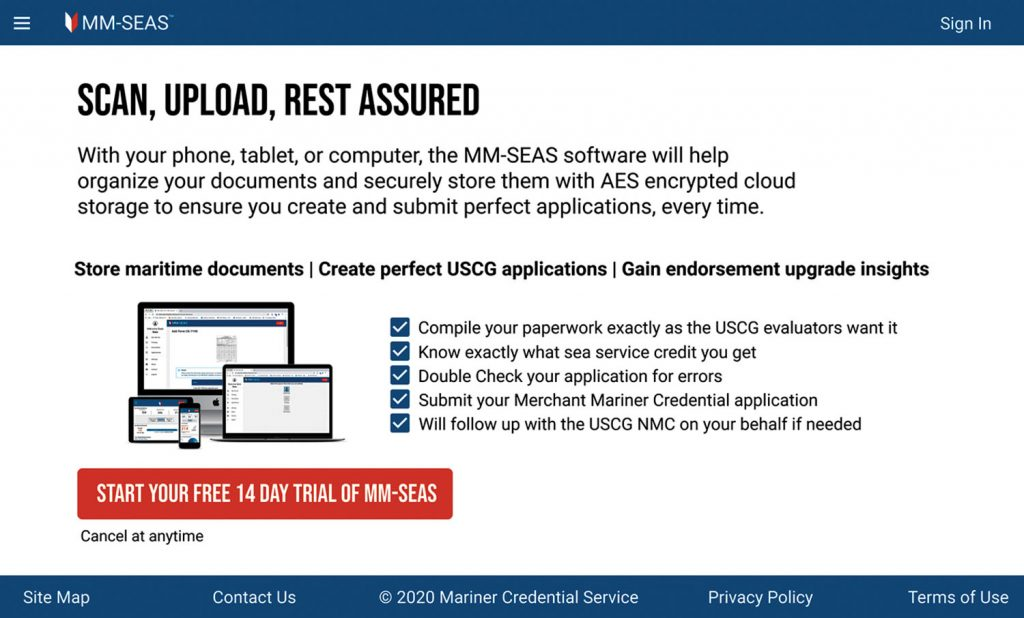 Screenshot of MM-SEAS product page.
