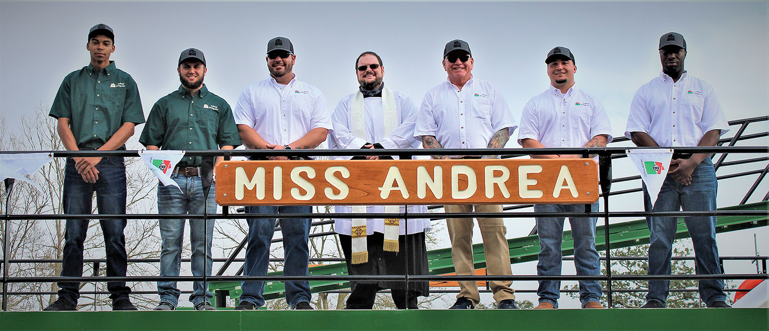 Crew of the Miss Andrea, from left: Curtis Thompson, deckhand; Baily Miller, tankerman; Joseph Smith III, relief captain; Rev. Cody Chatagnier; Capt. John Cooke; Ridge Little, tankerman; and Trey Brumfield, deckhand. (Photo courtesy of LeBeouf Bros. Towing)