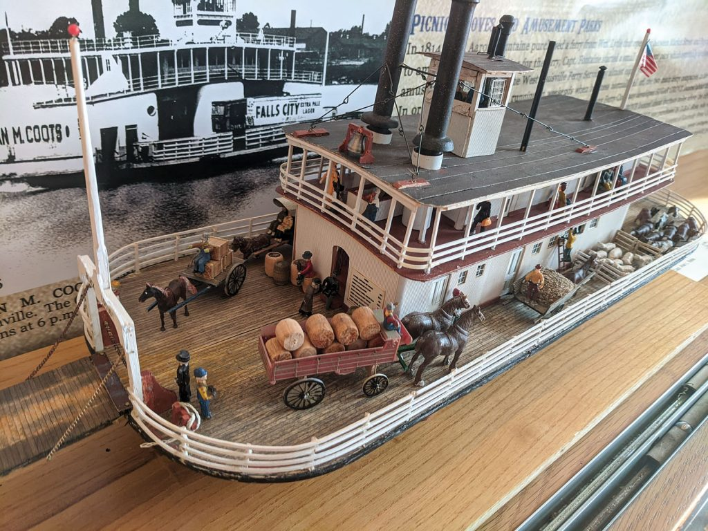 Model, built by Capt. Alan Bates, of the ferry boat Black Locust, the second vessel built by the Howard Shipyard in 1834. (Courtesy of the Howard Steamboat Museum)