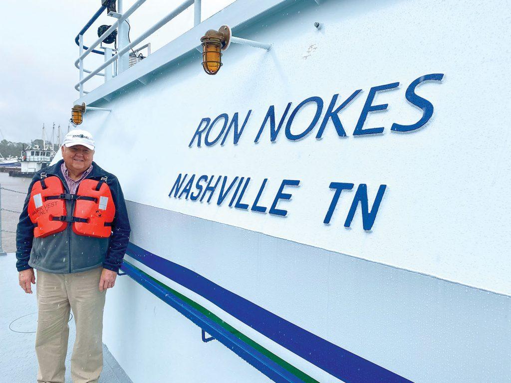 Ron Nokes aboard his namesake vessel.