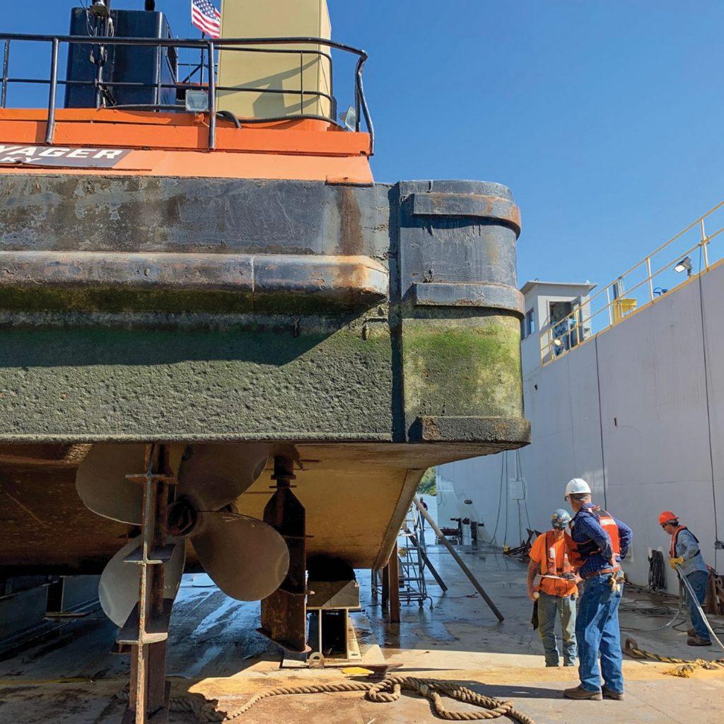 The mv. Maggie B. undergoes drydock repairs at Yager Marine. (Photo courtesy of Yager Marine)