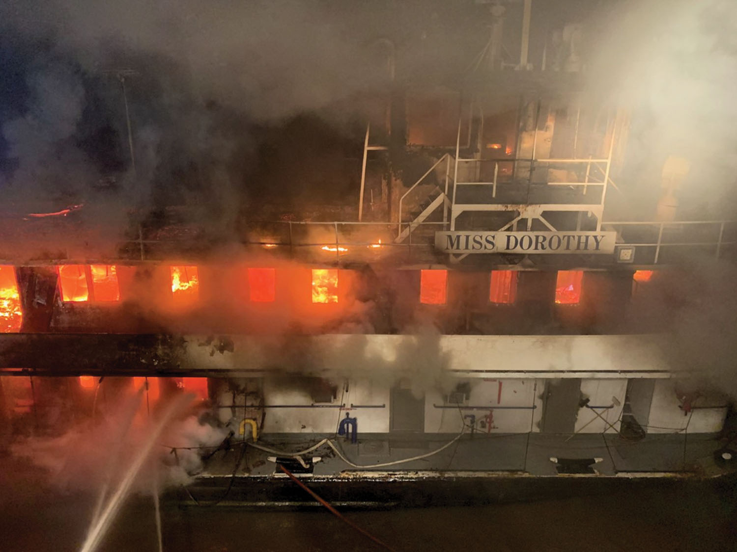 Mv. Miss Dorothy fully engulfed in flames March 17. (Photo courtesy of Baton Rouge Fire Department)
