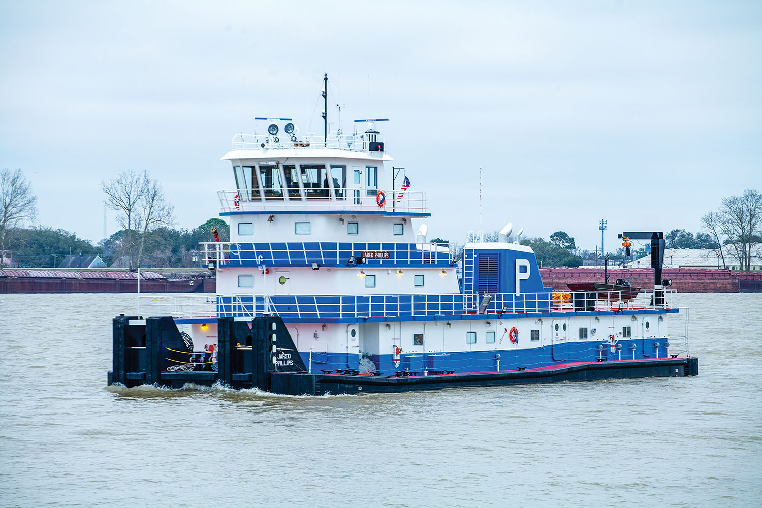 The 4,200 hp. mv. Jared Phillips is powered by twin Caterpillar 3516 diesels. It is the fifth towboat built at FMT Shipyard on the Harvey Canal. (Photo by Frank McCormack)