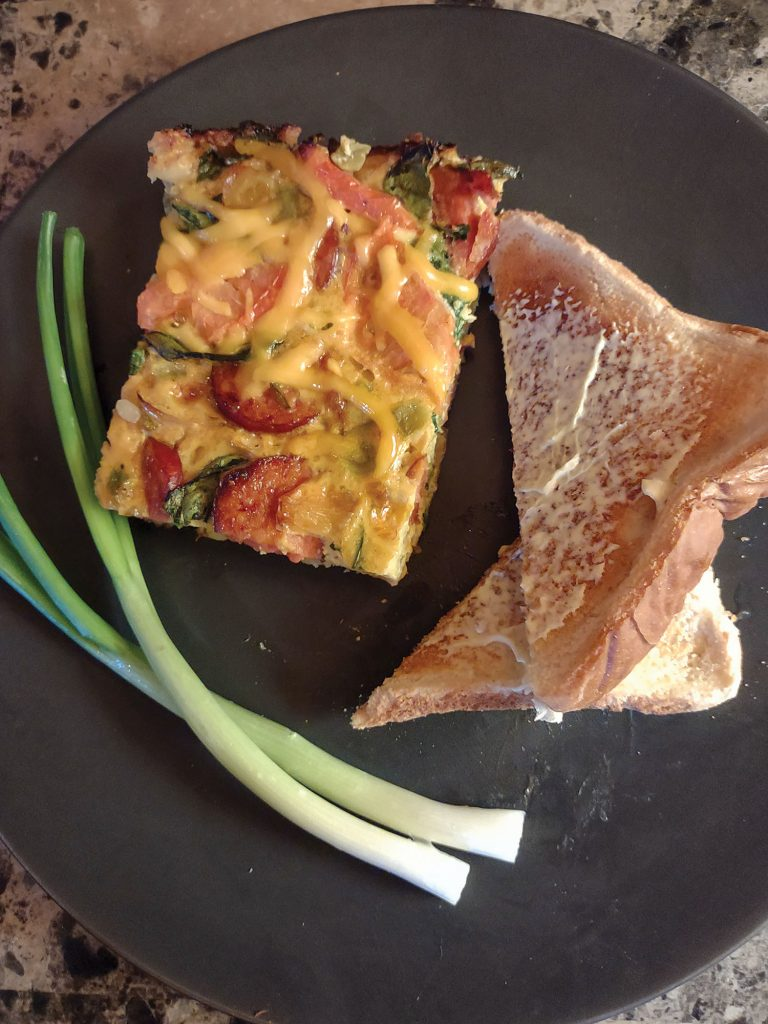 Spinach and smoked sausage frittata.