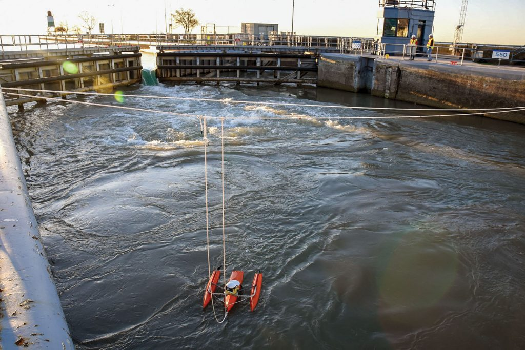 The Corps of Engineers, in conjunction with the U.S. Geological Survey, conducted a reverse backflow test on the Chicago Harbor Lock, measuring the uplift pressure that occurs within the lock chamber during a backflow event. (Photo courtesy of the Chicago Engineer District)