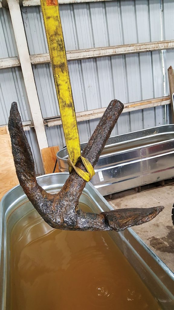 The Weeks Marine dredge also brought up an anchor from the same location.