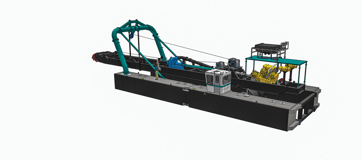 The new Marlin-class dredge, which will be available in mid-2021, is a 14-inch underwater pump mining dredge equipped with a single 1,125-hp. diesel engine.