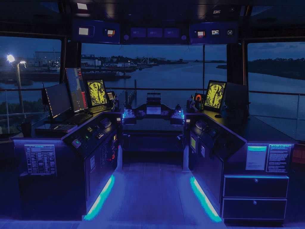 Nighttime view of pilothouse.
