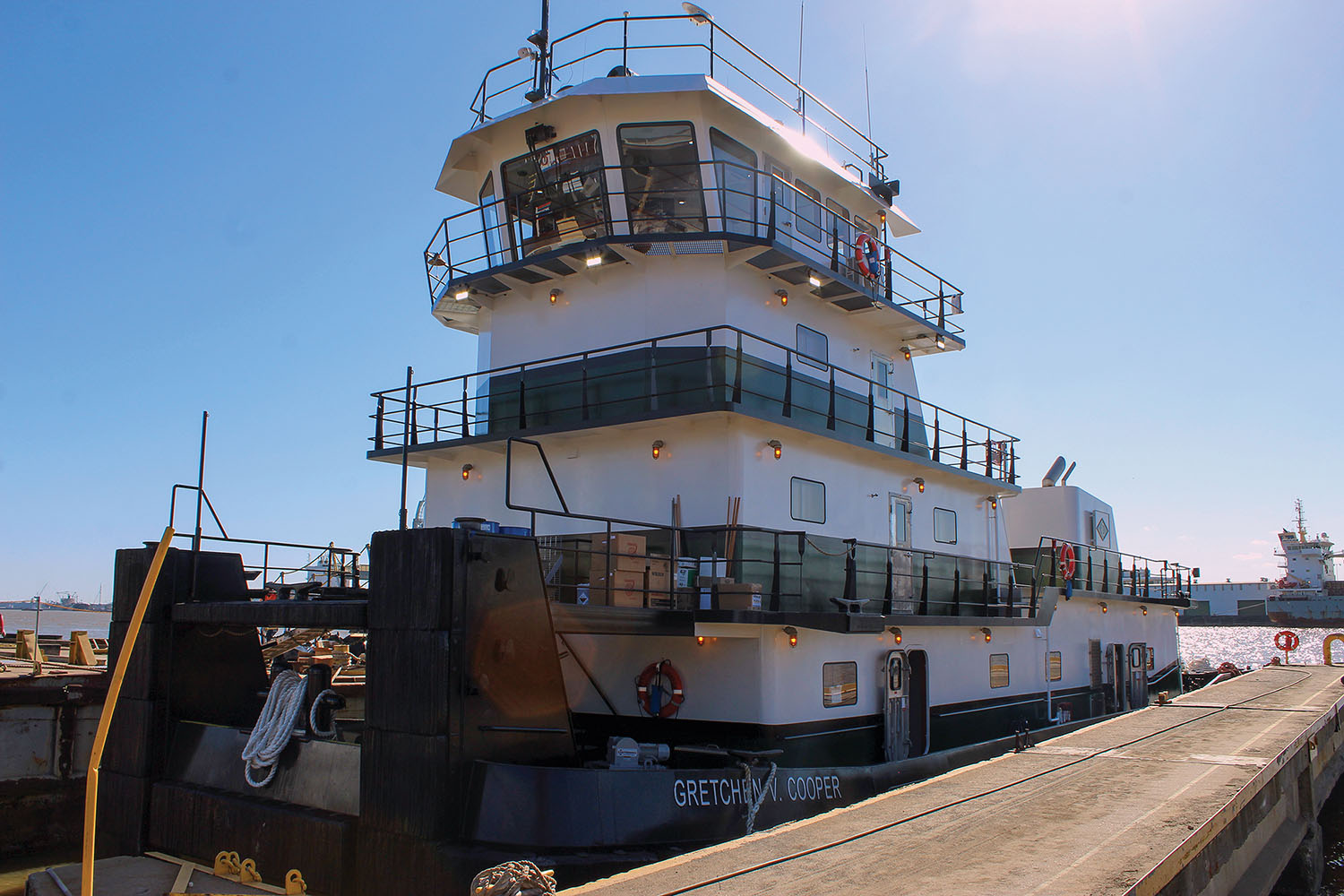 The mv. Gretchen V. Cooper is powered by two Tier 4 Caterpillar C3512E main engines.