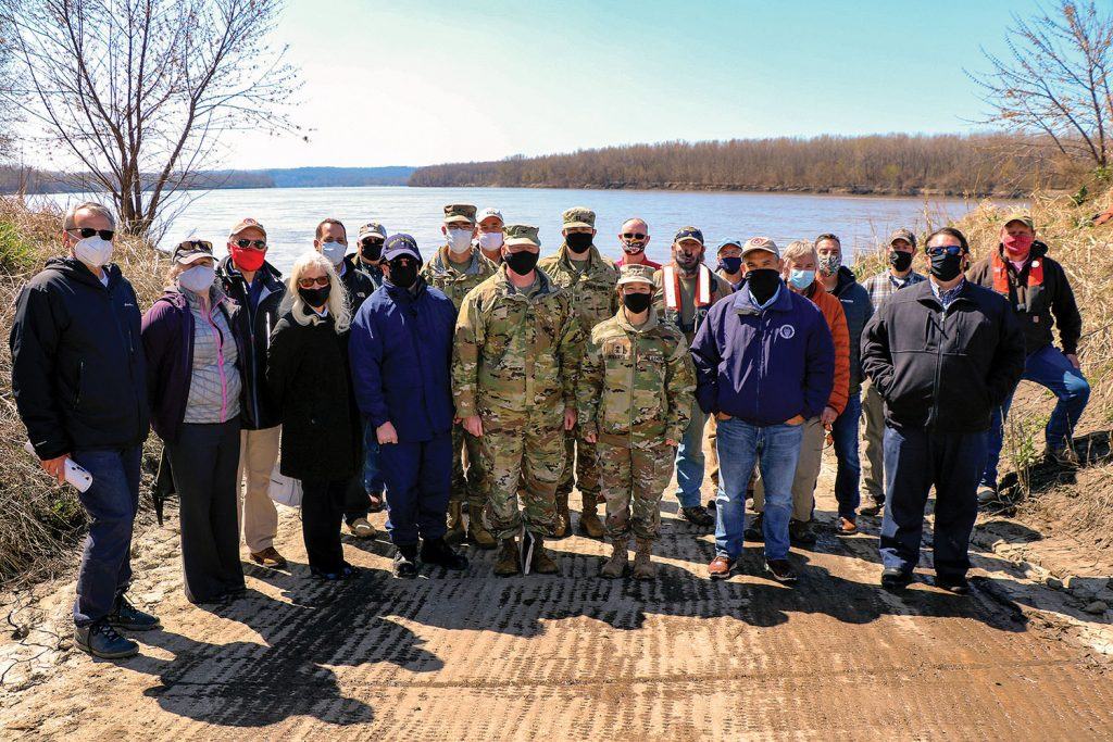 A group from the U.S. Army Corps of Engineers and Mississippi River Commission visit the Missouri River for a site inspection March 31.