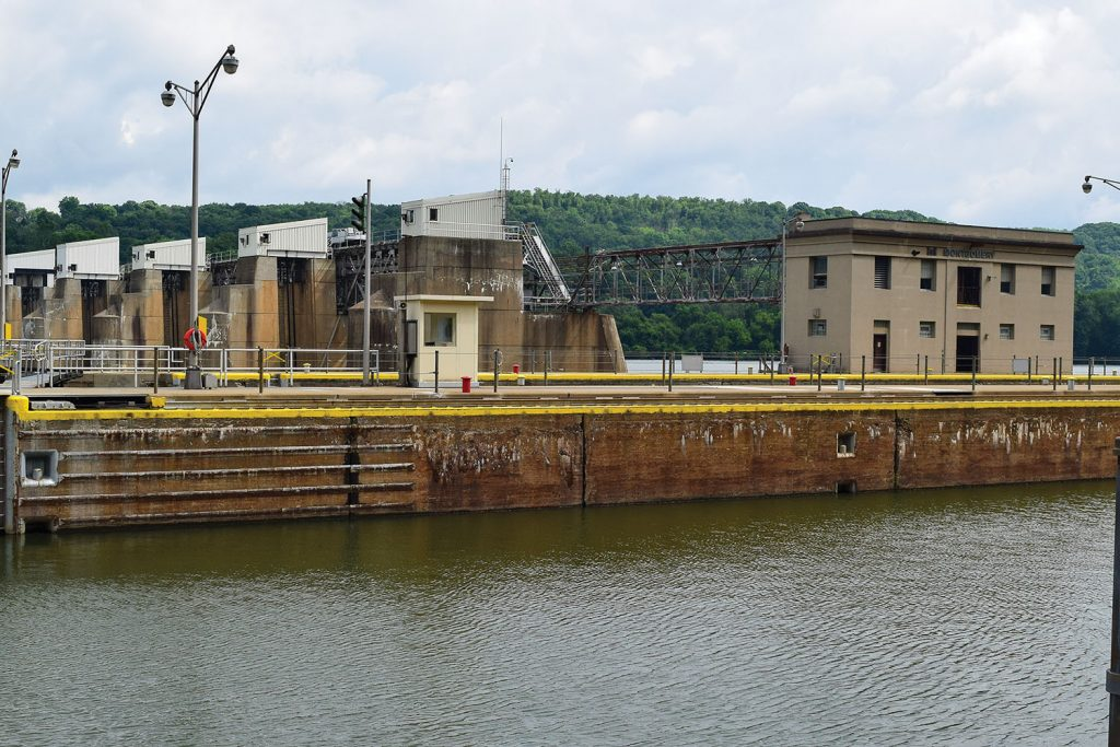 Construction on the Upper Ohio River Navigation Project will begin at Montgomery Locks and Dam, pictured here, first. (Photo courtesy of Pittsburgh Engineer District)