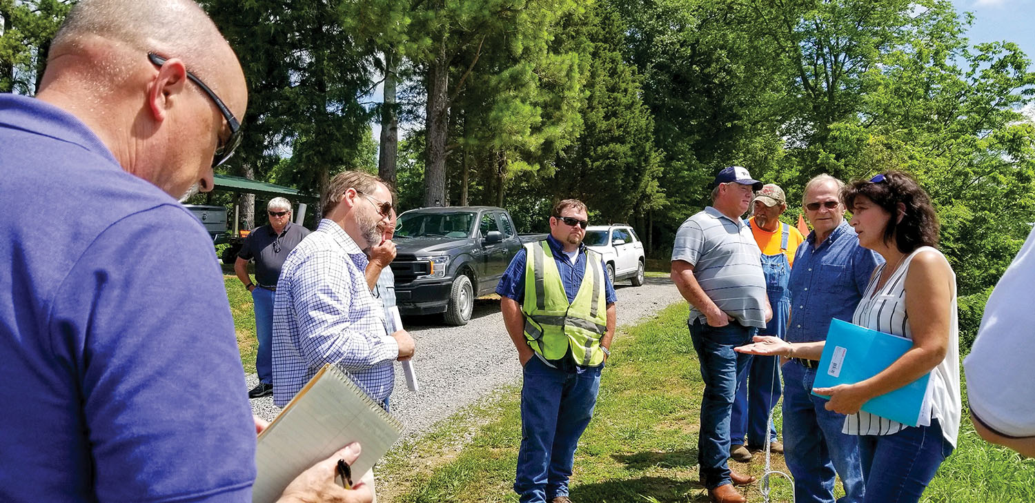Property owners along the Ohio River in and near Olmsted, Ill., talk to investigators from the Corps of Engineers during a site visit in June 2020. (Photo courtesy of Sandra Thornton)