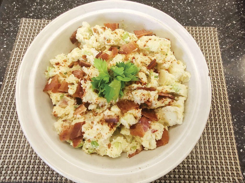 Mom's potato salad with bacon.