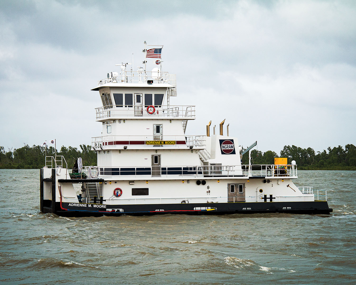 The mv. Adrienne M. Moore is the first of 10 towboats being built by Main Iron Works for Ingram Barge Company.