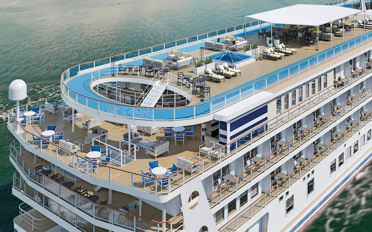 American Cruise Lines' newest boats feature a fifth-deck skywalk.