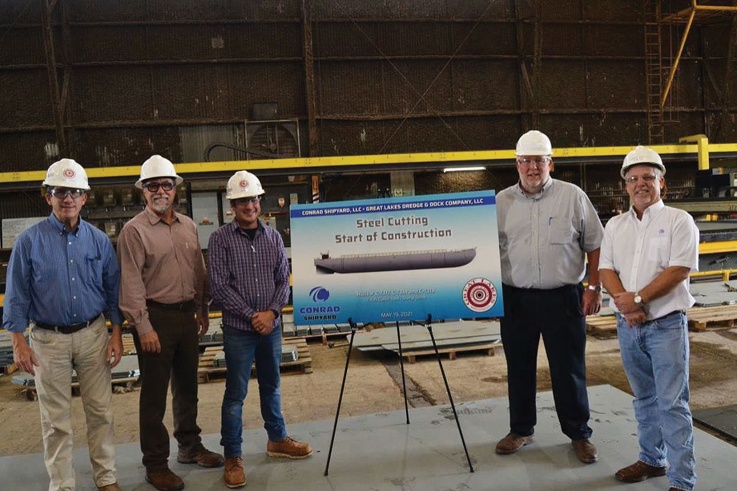 Conrad Cuts Steel For GLDD Dump Scow Barges