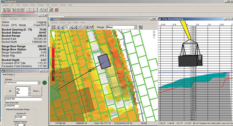 Using the map as well as the profile view, the operator has precise control of dredging operations.