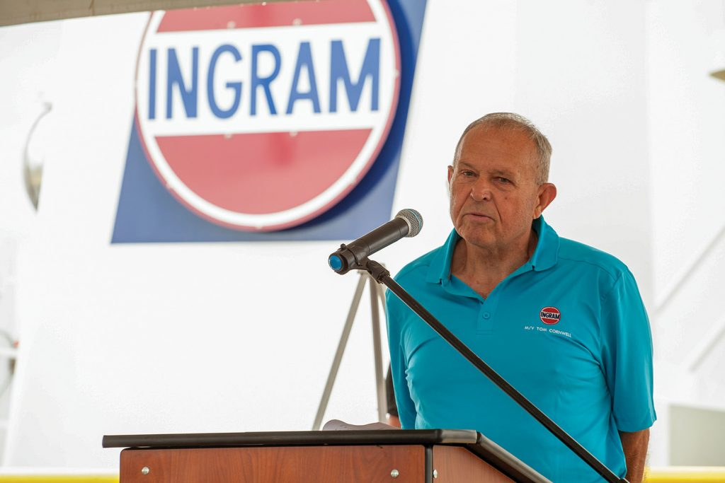 Tom Cornwell, Ingram Barge Company senior manager of motor vessel engineering, will have a forthcoming Ingram towboat named in his honor. (Photo by Frank McCormack)