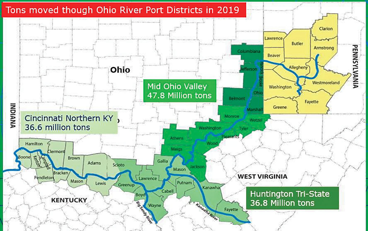 A graphic shows the location of the new Mid-Ohio Valley Port District and the freight tonnage by volume of surrounding districts as of 2019. The new district may become the largest inland port by freight tonnage. (Graphic courtesy of Ohio Department of Transportation)