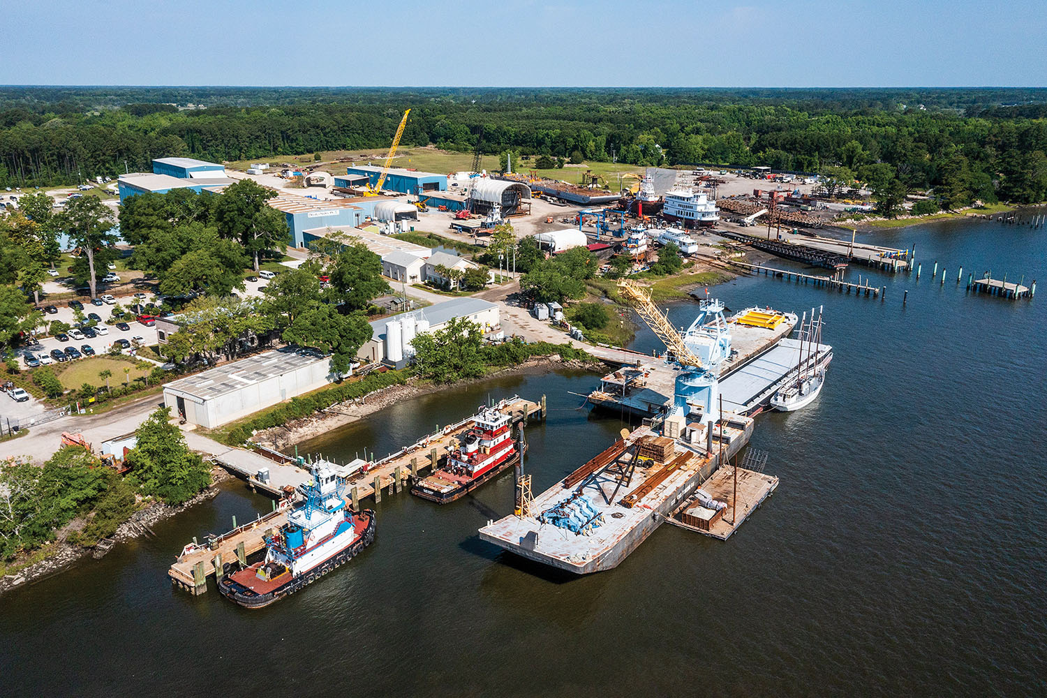 Stevens Towing shipyard at Yonges Island, S.C. (Photo courtesy of Stevens Towing)