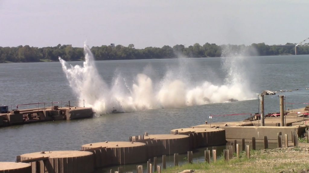 A wall at former Locks 52 is demolished in 2019. (Photo courtesy Louisville Engineer District)