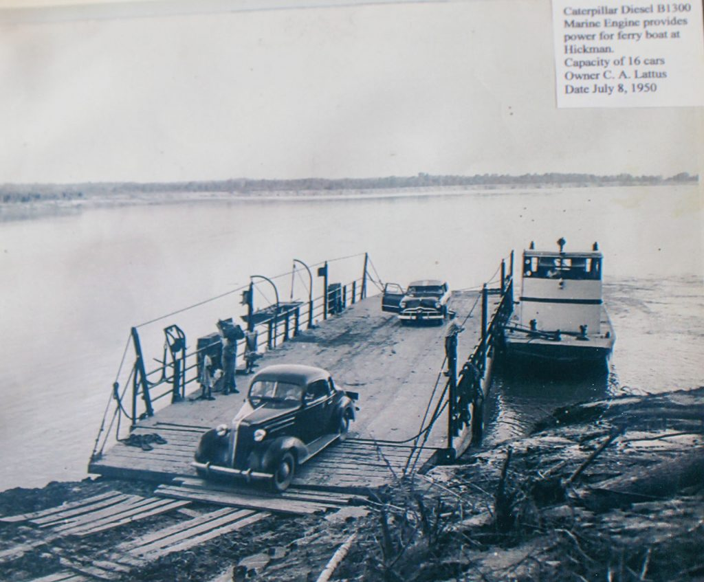 A car unloads from the ferry July 8, 1950. Information on the photo indicates at that time the ferryboat had a Caterpillar Diesel B1300 marine engine providing power for the ferry, with a capacity of 16 cars. (Photo courtesy of Mississippi County Port Authority)