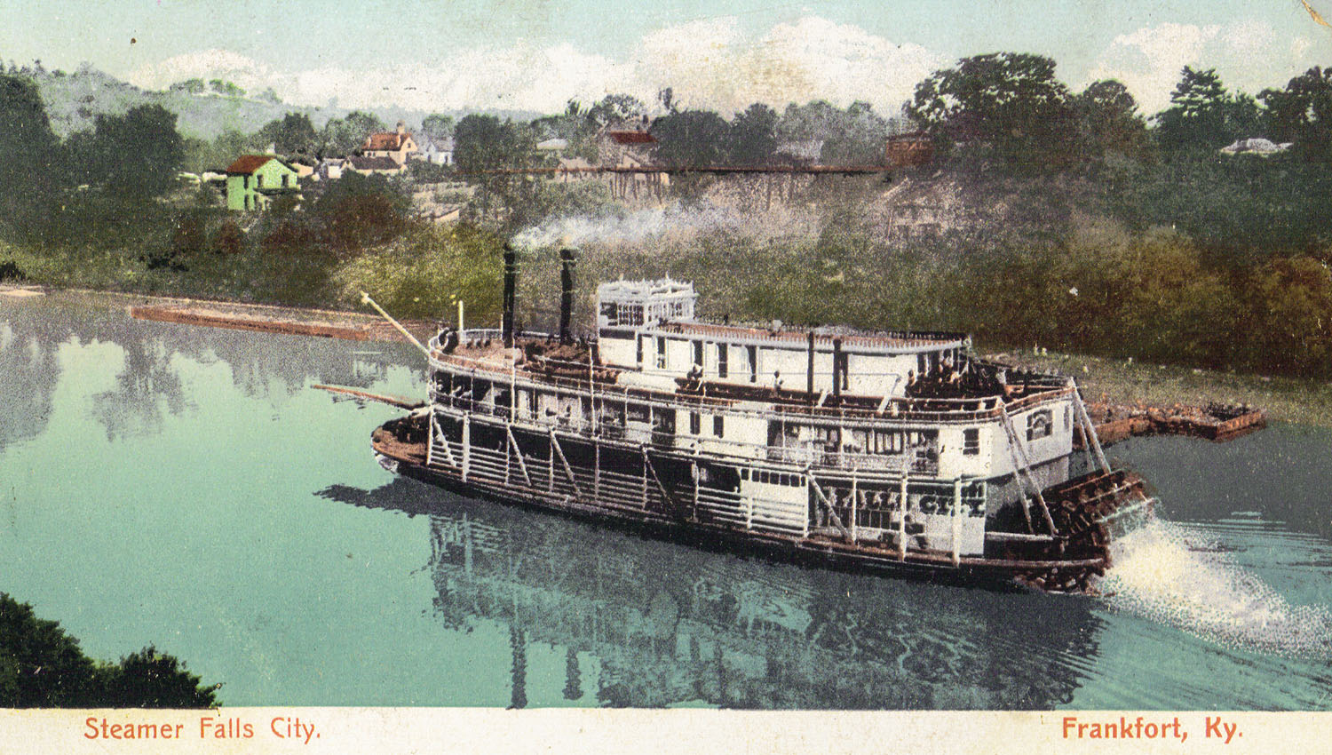 A vintage postcard, dated July 25, 1907, of the Falls City underway. (Keith Norrington collection)