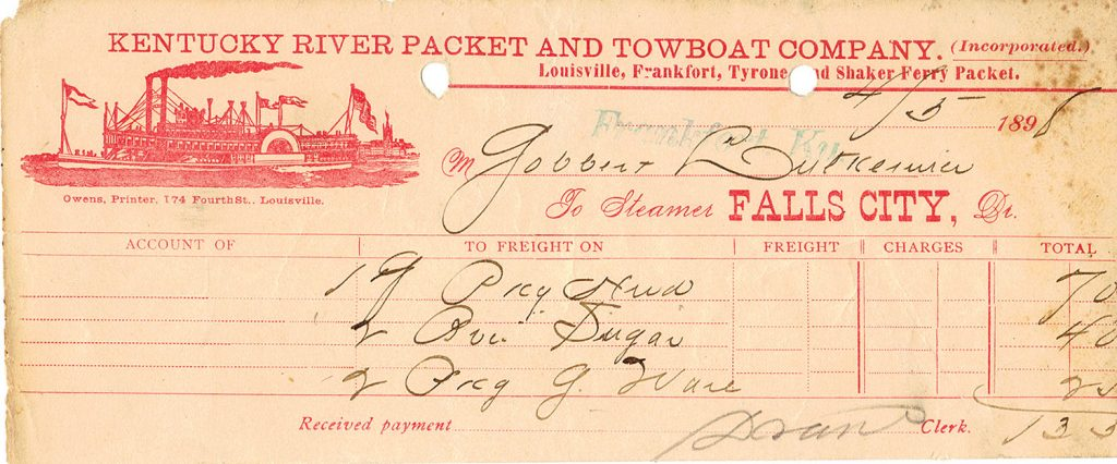 A freight bill, dated April 5, 1898, for the steamer Falls City. (Keith Norrington collection)