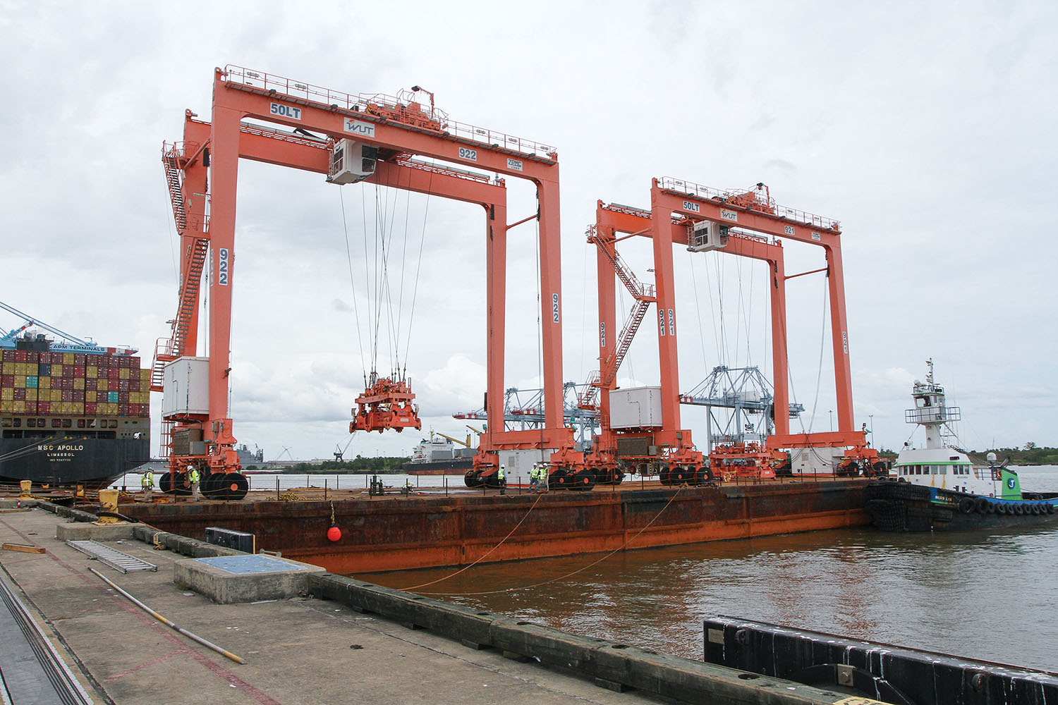 APM Terminals Mobile took delivery August 26 of two rubber tire gantry cranes to support growth at the port's intermodal container transfer facility. (Photo courtesy of Alabama State Port Authority)