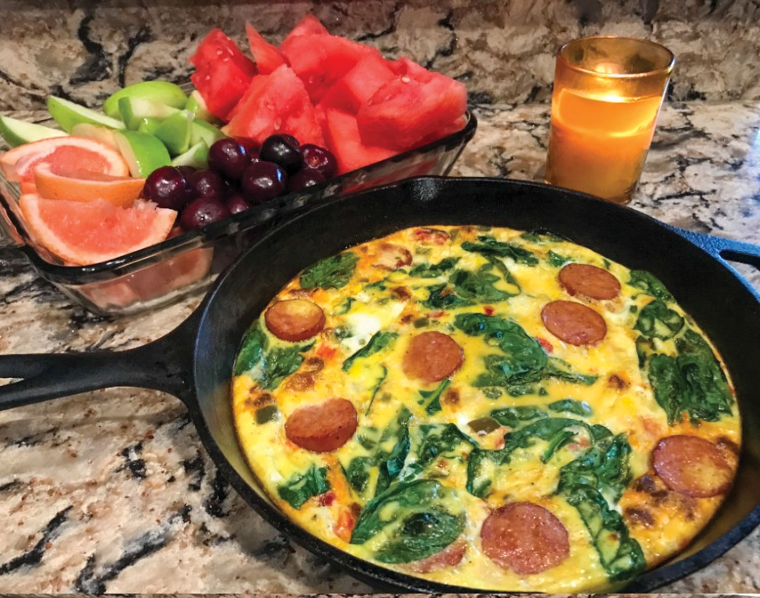 Smoked sausage and spinach frittata.
