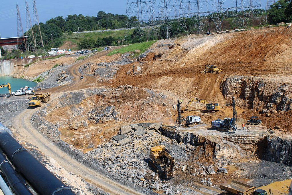 Excavation of an additional lock chamber at Kentucky Lock, Tennessee River Mile 22.4, is half complete. Excavation is expected to be complete in mid-2022. The entire project is estimated to be completed in 2029. (Photo by Shelley Byrne)