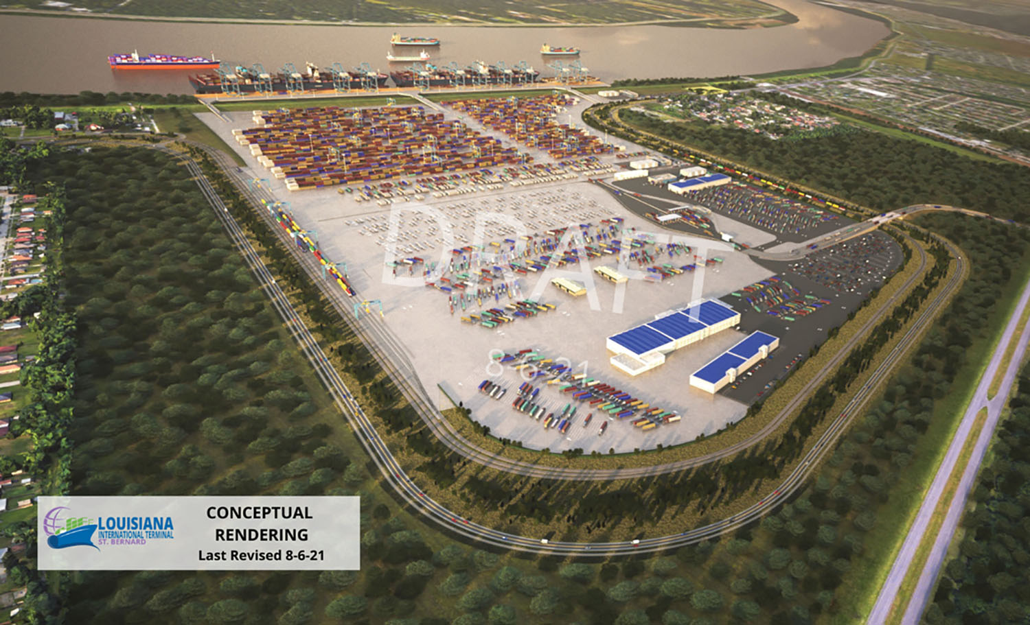 Conceptual rendering of new Louisiana Intermodal Terminal. (courtesy of Port of New Orleans)