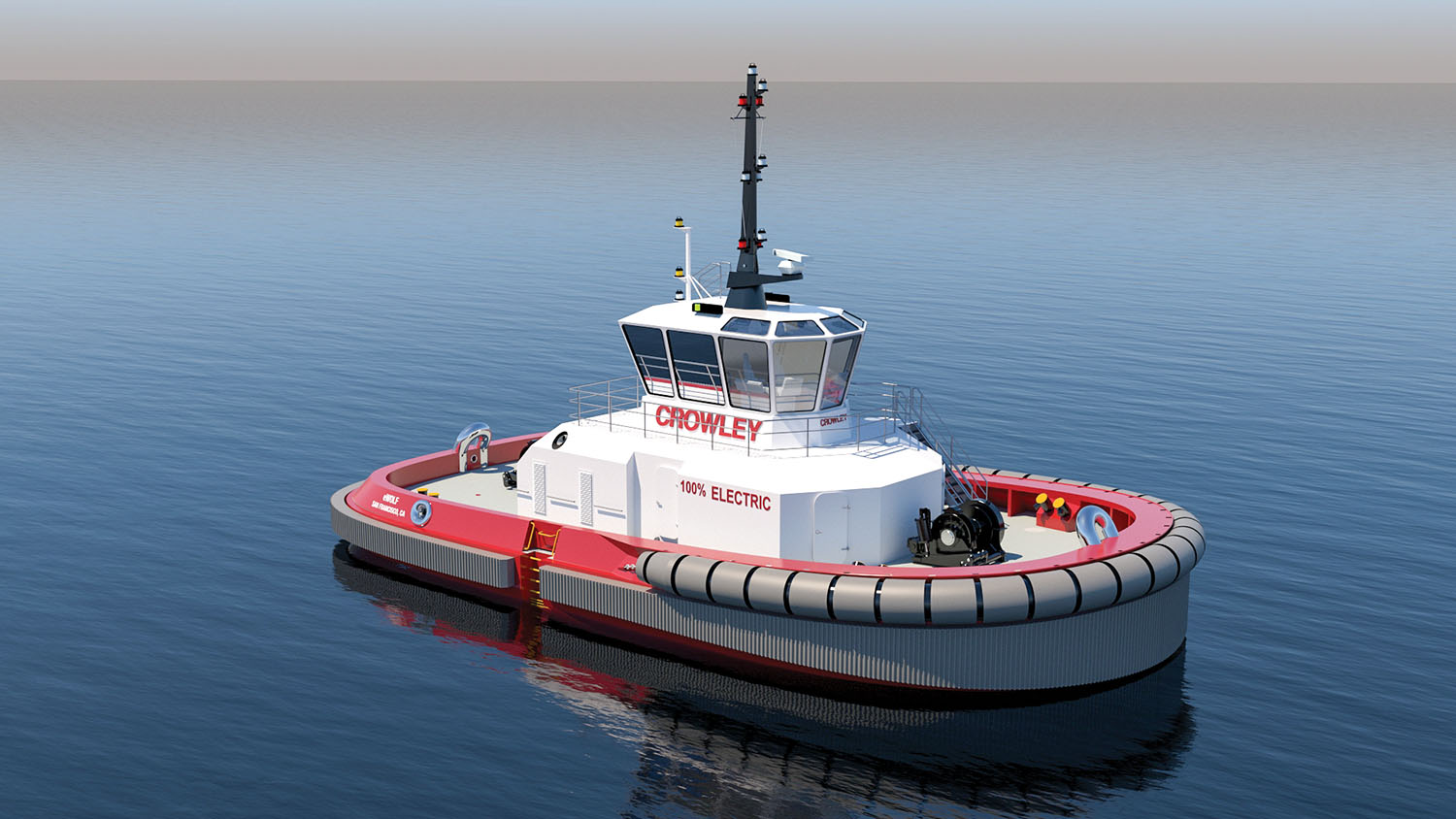 Rendering of eWolf tug being constructed at Master Boat Builders Inc. in Mobile, Ala. (Courtesy of Crowley Engineering Services)