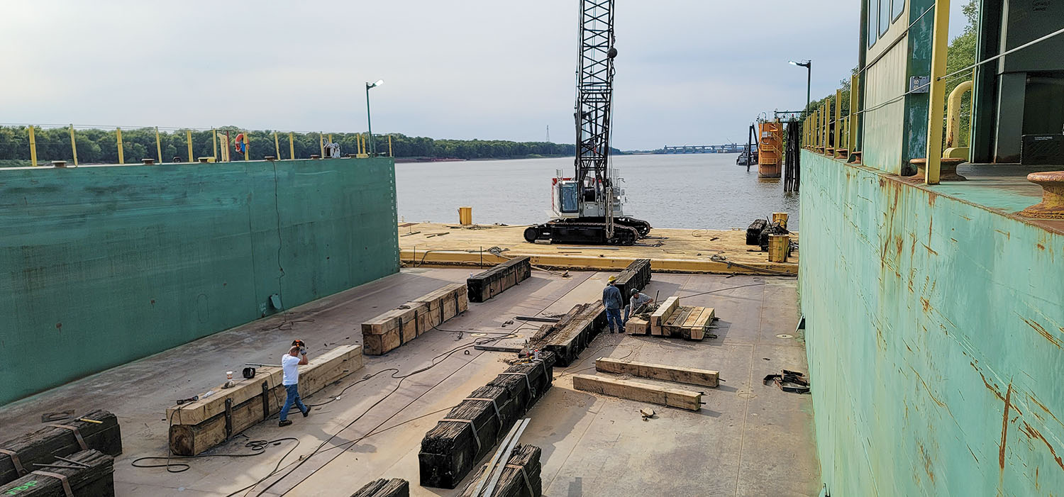 Lohrberg Lumber provided 2- by 2- by 10-foot and 1- by 1- by 20-foot oak drydock timbers to Mike's Inc. (Photo courtesy of Mike's Inc.)