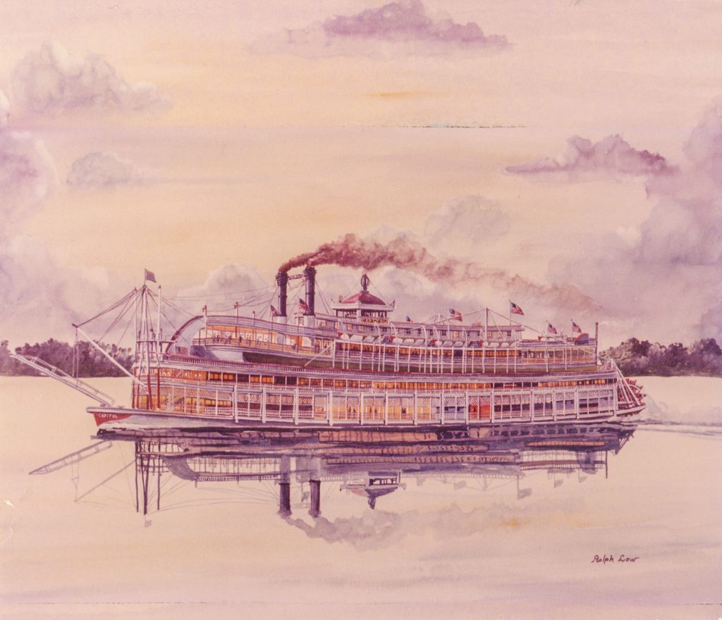 The Streckfus excursion steamer Capitol. Artwork by Ralph Law. (Keith Norrington collection)