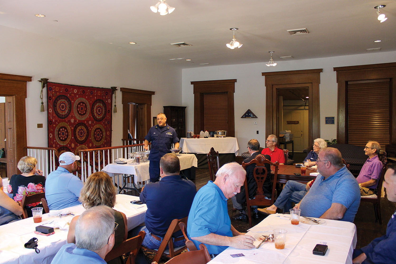 Coast Guard Lt. Commander Mihai Leta addresses members of the Port of Paducah Propeller Club during the club's September meeting, talking about the responsibilities of Marine Safety Unit Paducah. (Photo by Shelley Byrne)